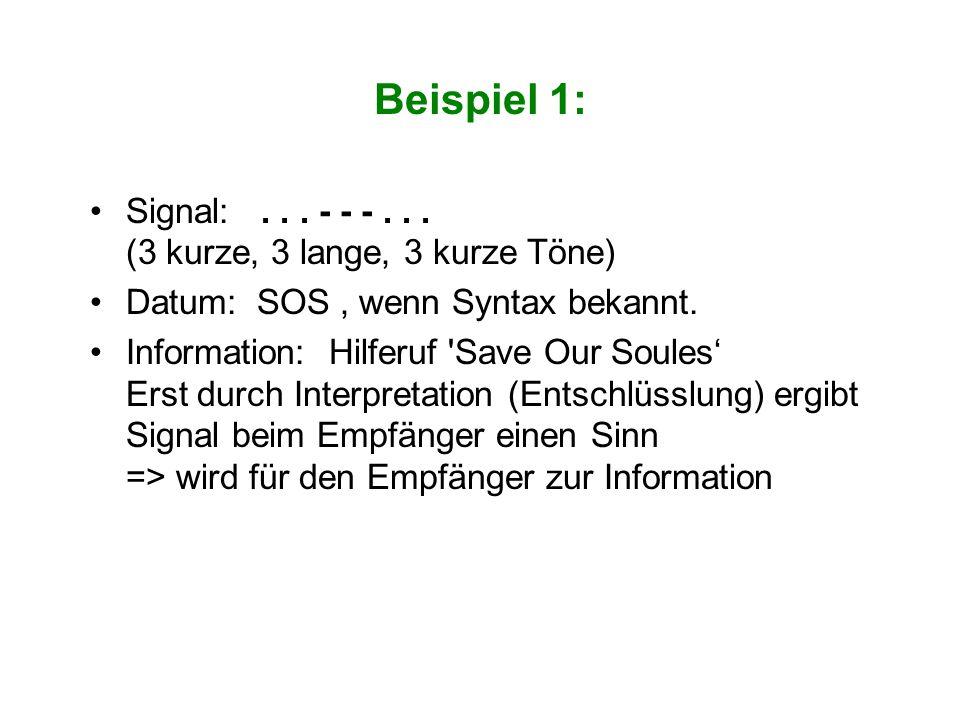 Beispiel 1: Signal: . . . - - - . . . (3 kurze, 3 lange, 3 kurze Töne)