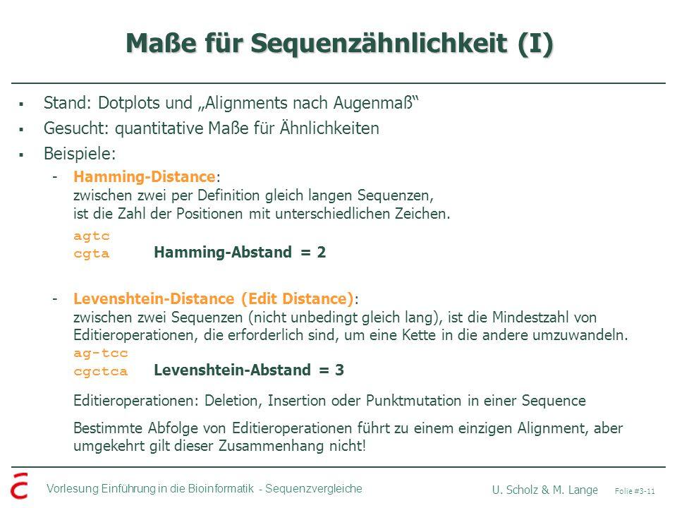 Maße für Sequenzähnlichkeit (I)