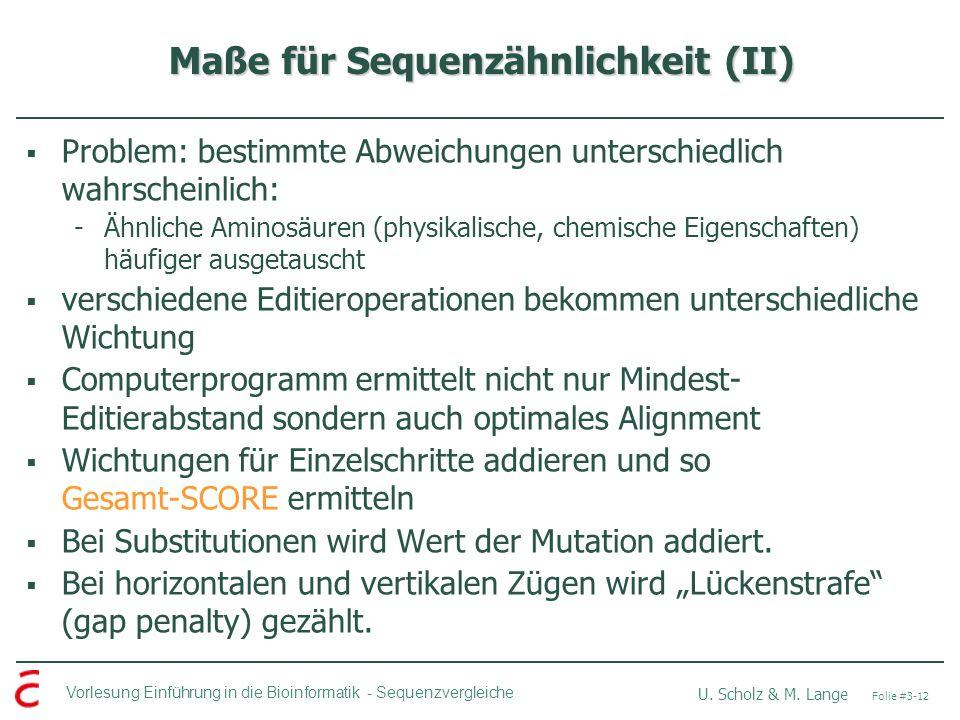 Maße für Sequenzähnlichkeit (II)