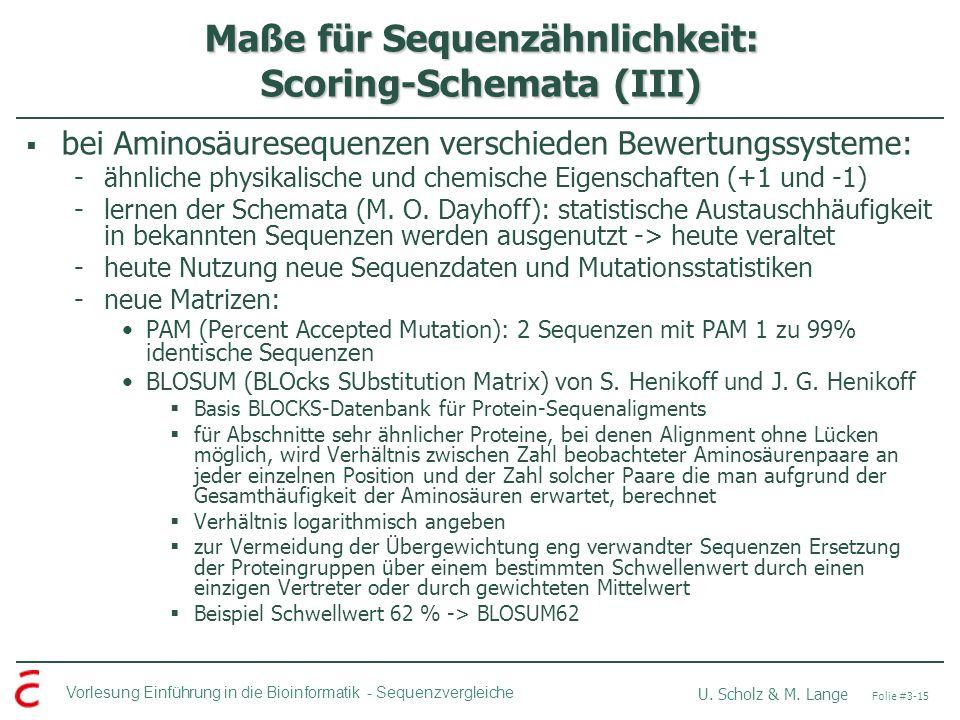 Maße für Sequenzähnlichkeit: Scoring-Schemata (III)