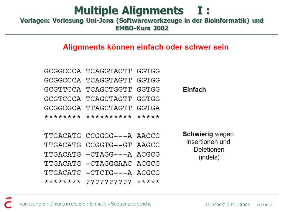 Multiple Alignments I : Vorlagen: Vorlesung Uni-Jena (Softwarewerkzeuge in der Bioinformatik) und EMBO-Kurs 2002