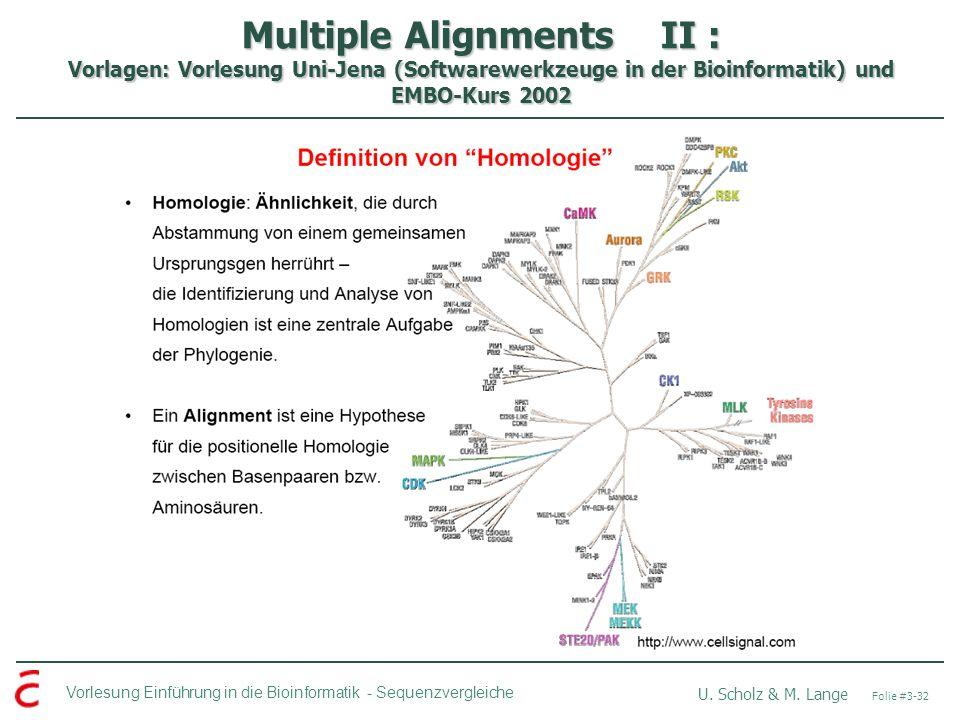Multiple Alignments II : Vorlagen: Vorlesung Uni-Jena (Softwarewerkzeuge in der Bioinformatik) und EMBO-Kurs 2002