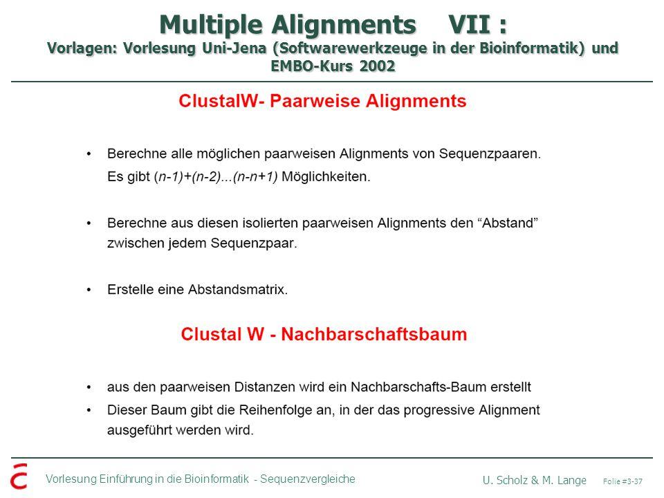 Multiple Alignments VII : Vorlagen: Vorlesung Uni-Jena (Softwarewerkzeuge in der Bioinformatik) und EMBO-Kurs 2002