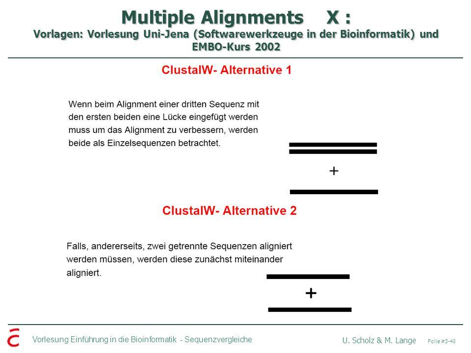 Multiple Alignments X : Vorlagen: Vorlesung Uni-Jena (Softwarewerkzeuge in der Bioinformatik) und EMBO-Kurs 2002