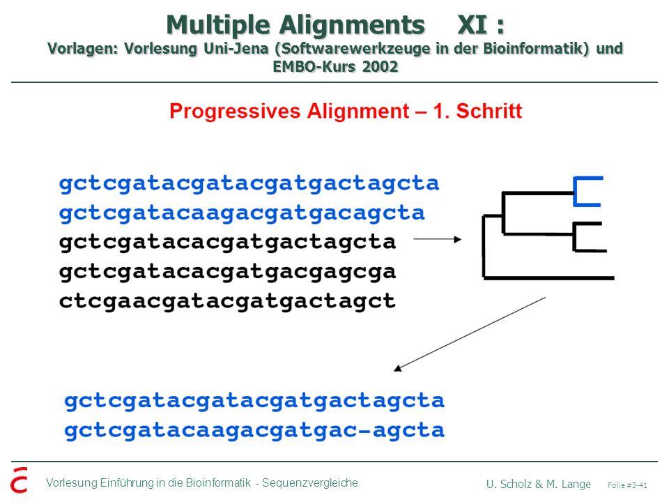 Multiple Alignments XI : Vorlagen: Vorlesung Uni-Jena (Softwarewerkzeuge in der Bioinformatik) und EMBO-Kurs 2002