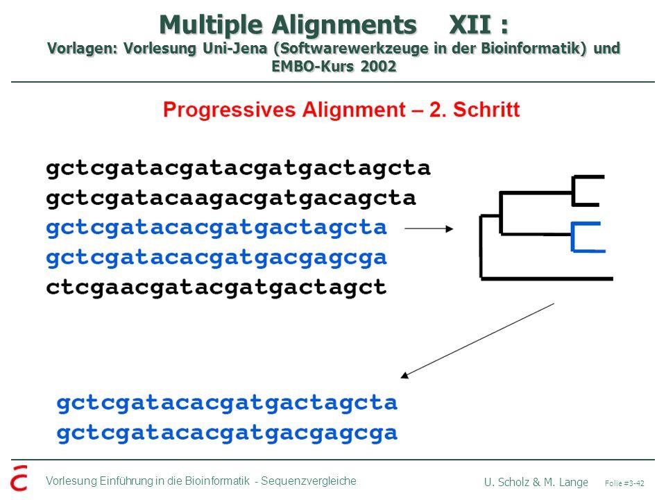 Multiple Alignments XII : Vorlagen: Vorlesung Uni-Jena (Softwarewerkzeuge in der Bioinformatik) und EMBO-Kurs 2002