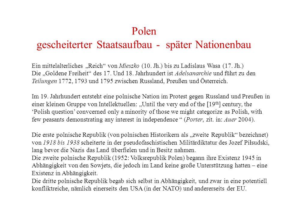 Polen gescheiterter Staatsaufbau - später Nationenbau
