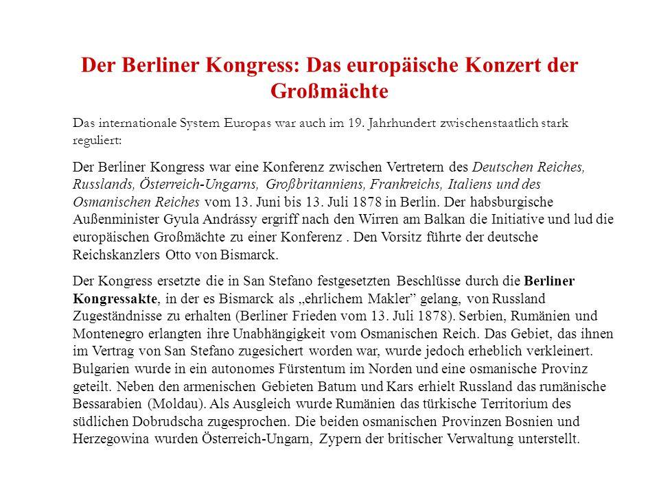 Der Berliner Kongress: Das europäische Konzert der Großmächte