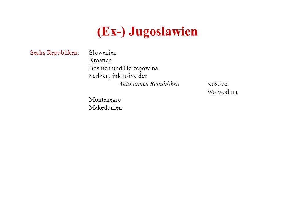 (Ex-) Jugoslawien Sechs Republiken: Slowenien Kroatien