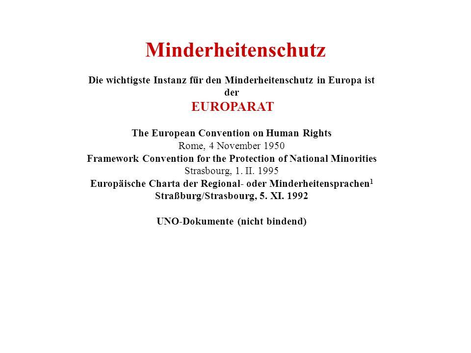 Minderheitenschutz Die wichtigste Instanz für den Minderheitenschutz in Europa ist. der. EUROPARAT.