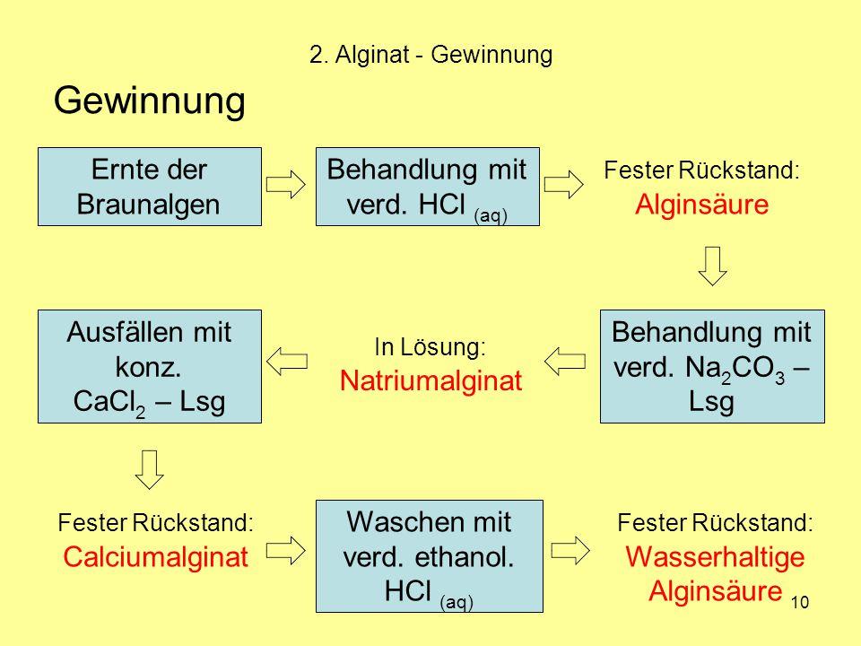 Gewinnung Ernte der Braunalgen Behandlung mit verd. HCl (aq)