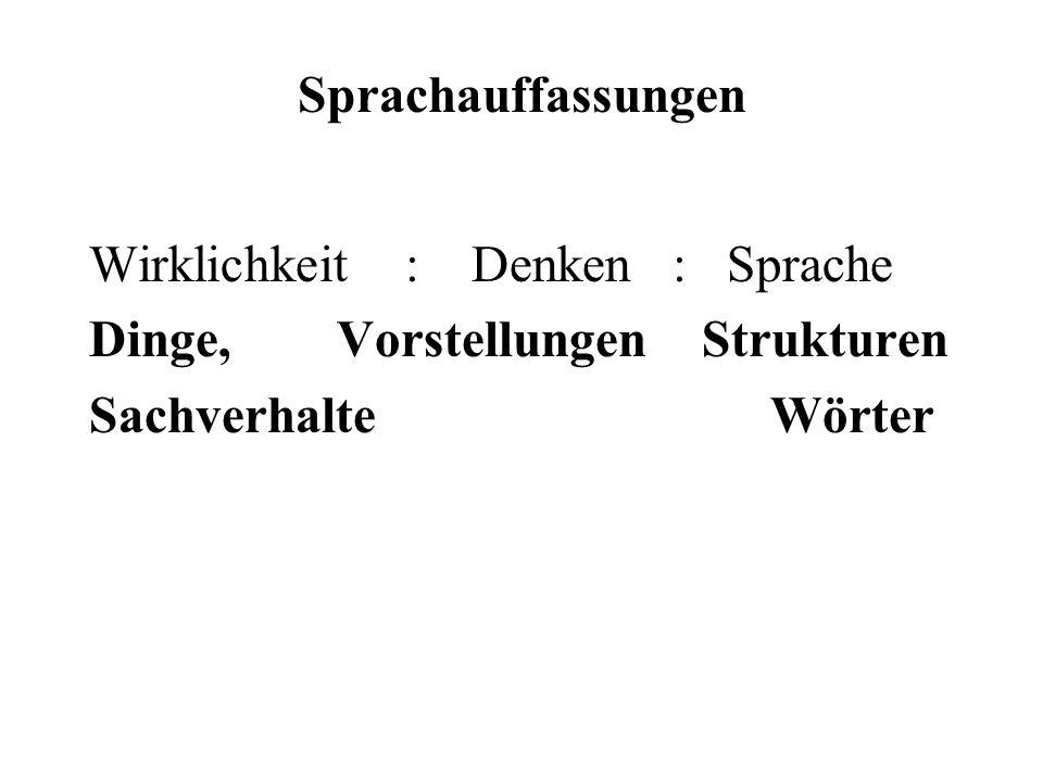 Sprachauffassungen Wirklichkeit : Denken : Sprache. Dinge, Vorstellungen Strukturen.