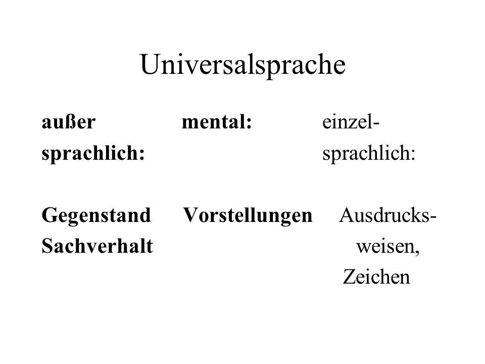 Universalsprache außer mental: einzel- sprachlich: sprachlich: