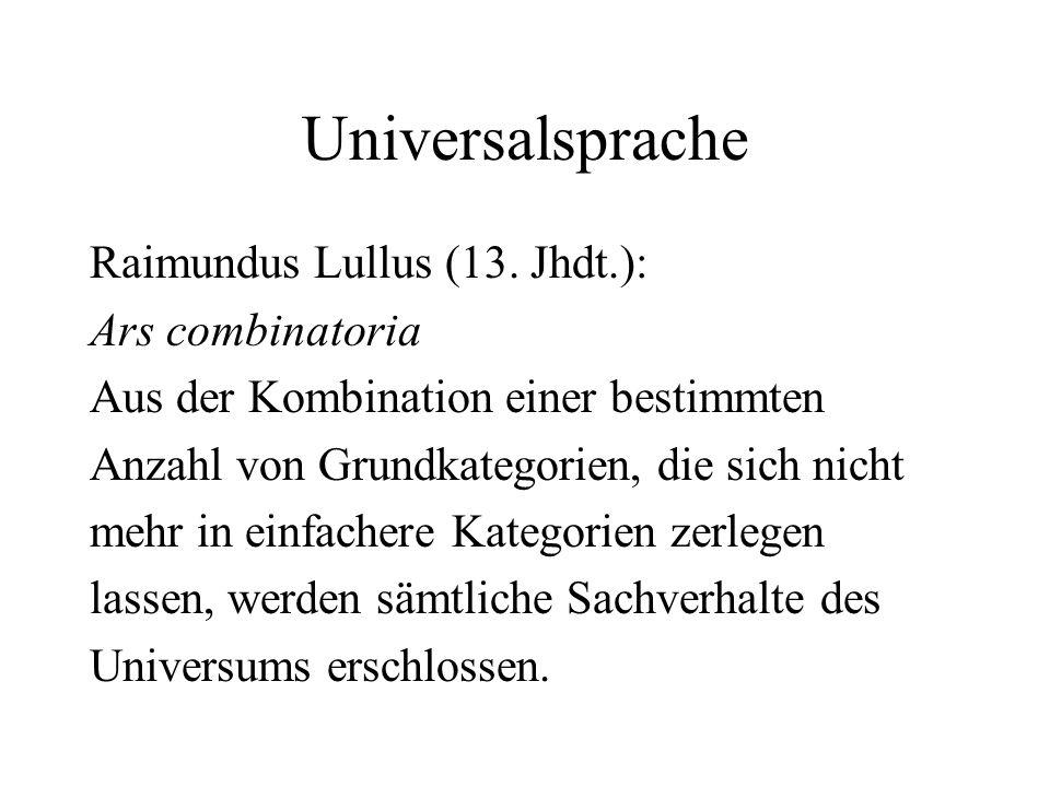 Universalsprache Raimundus Lullus (13. Jhdt.): Ars combinatoria