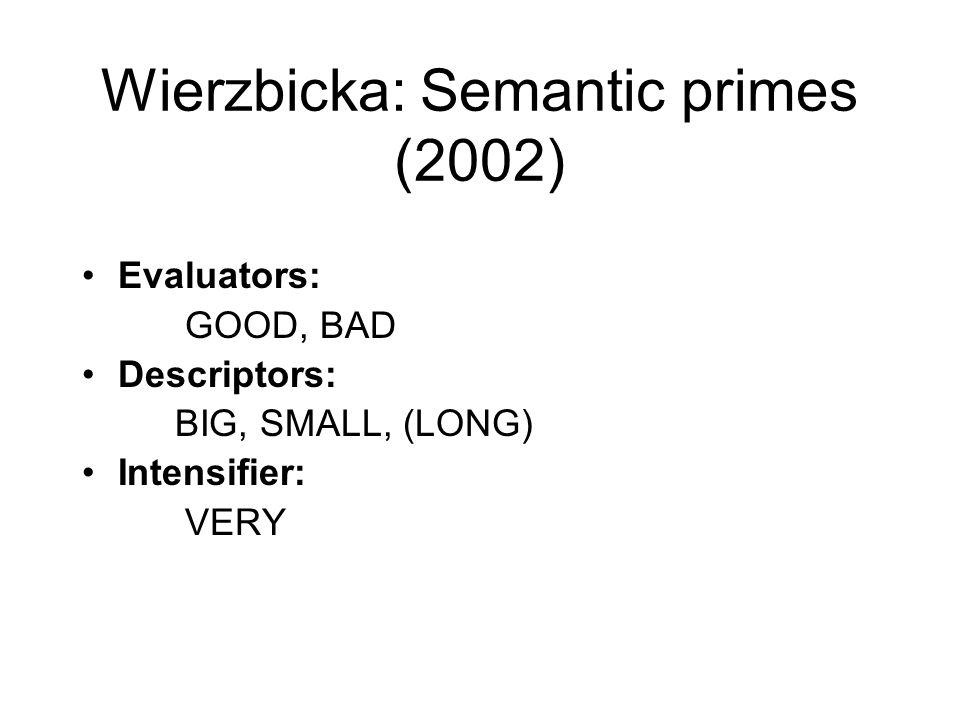 Wierzbicka: Semantic primes (2002)
