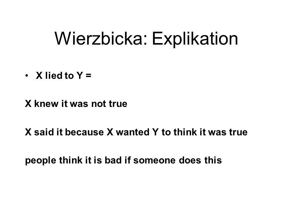Wierzbicka: Explikation