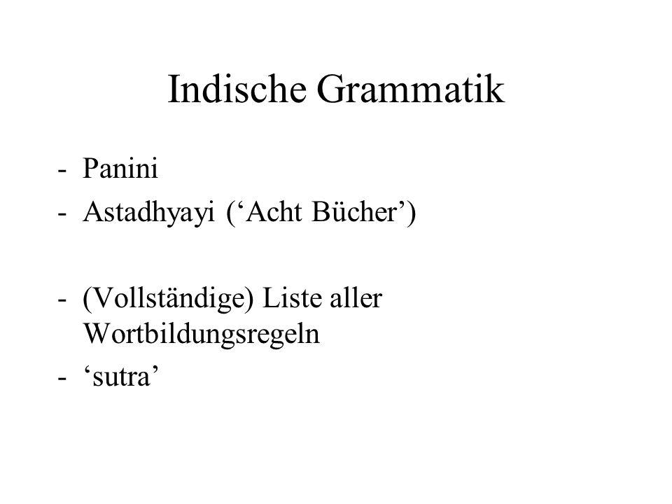 Indische Grammatik Panini Astadhyayi ('Acht Bücher')