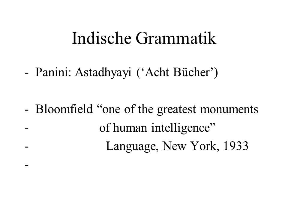 Indische Grammatik Panini: Astadhyayi ('Acht Bücher')
