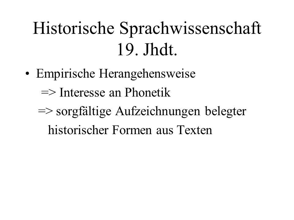 Historische Sprachwissenschaft 19. Jhdt.