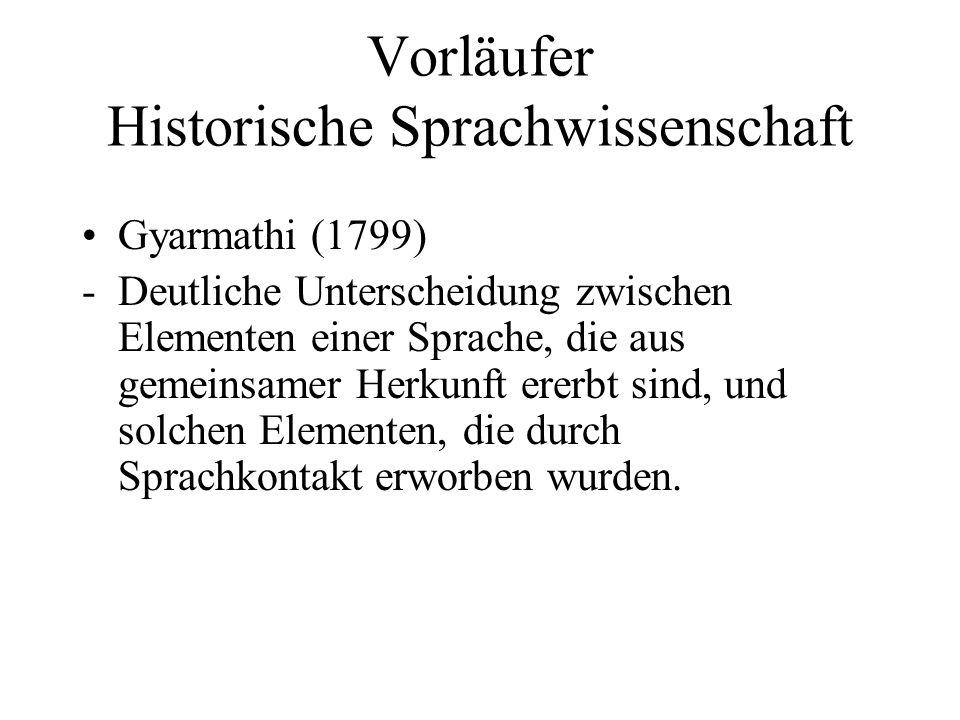 Vorläufer Historische Sprachwissenschaft