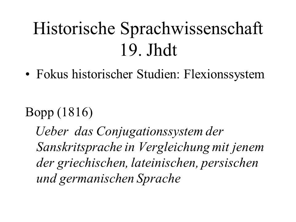 Historische Sprachwissenschaft 19. Jhdt