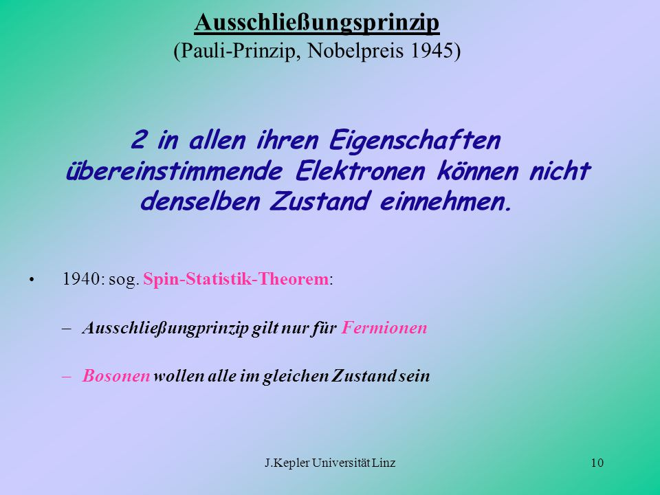 Ausschließungsprinzip (Pauli-Prinzip, Nobelpreis 1945)