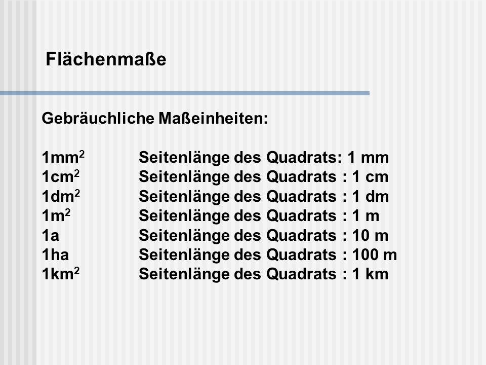 Flächenmaße Gebräuchliche Maßeinheiten: