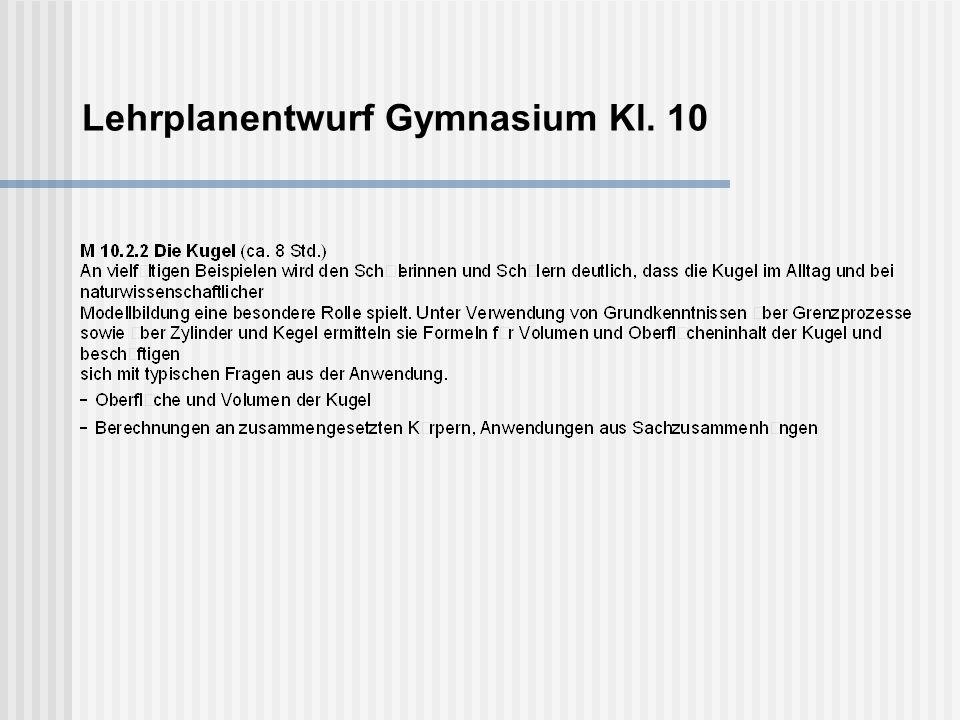 Lehrplanentwurf Gymnasium Kl. 10