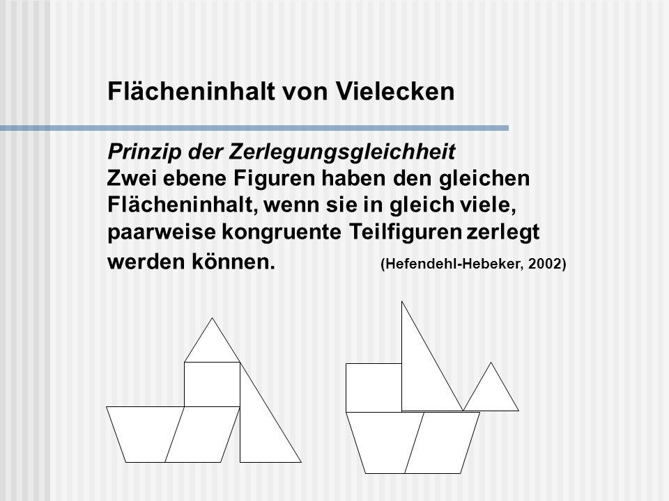 Flächeninhalt von Vielecken Prinzip der Zerlegungsgleichheit Zwei ebene Figuren haben den gleichen Flächeninhalt, wenn sie in gleich viele, paarweise kongruente Teilfiguren zerlegt werden können.