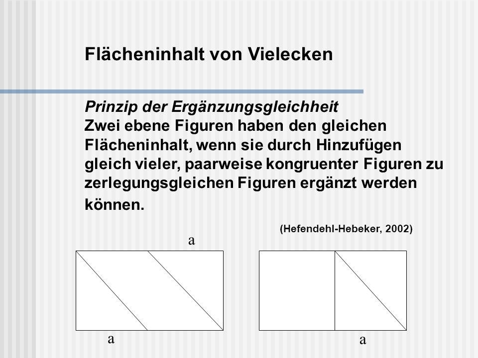 Flächeninhalt von Vielecken Prinzip der Ergänzungsgleichheit Zwei ebene Figuren haben den gleichen Flächeninhalt, wenn sie durch Hinzufügen gleich vieler, paarweise kongruenter Figuren zu zerlegungsgleichen Figuren ergänzt werden können. (Hefendehl-Hebeker, 2002)