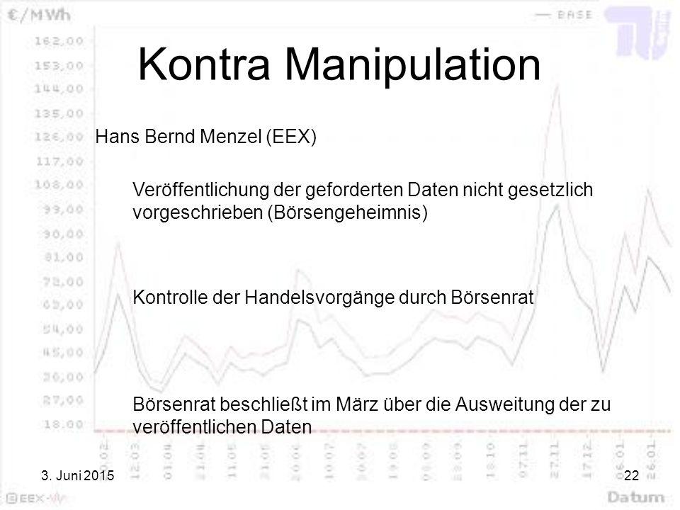 Kontra Manipulation Hans Bernd Menzel (EEX)