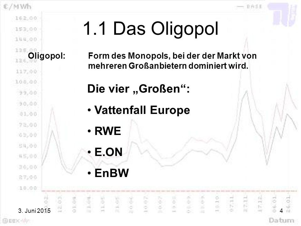"""1.1 Das Oligopol Die vier """"Großen : Vattenfall Europe RWE E.ON EnBW"""