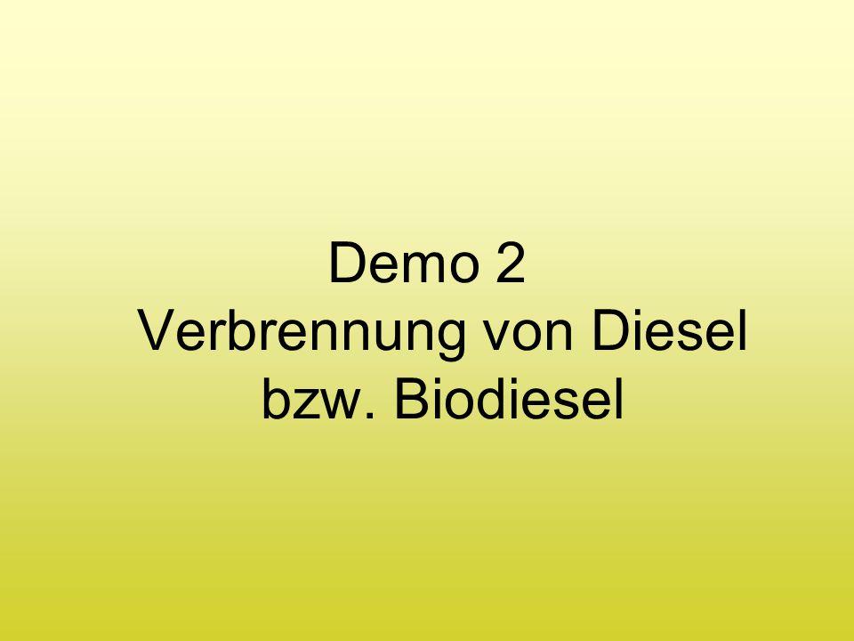Demo 2 Verbrennung von Diesel bzw. Biodiesel
