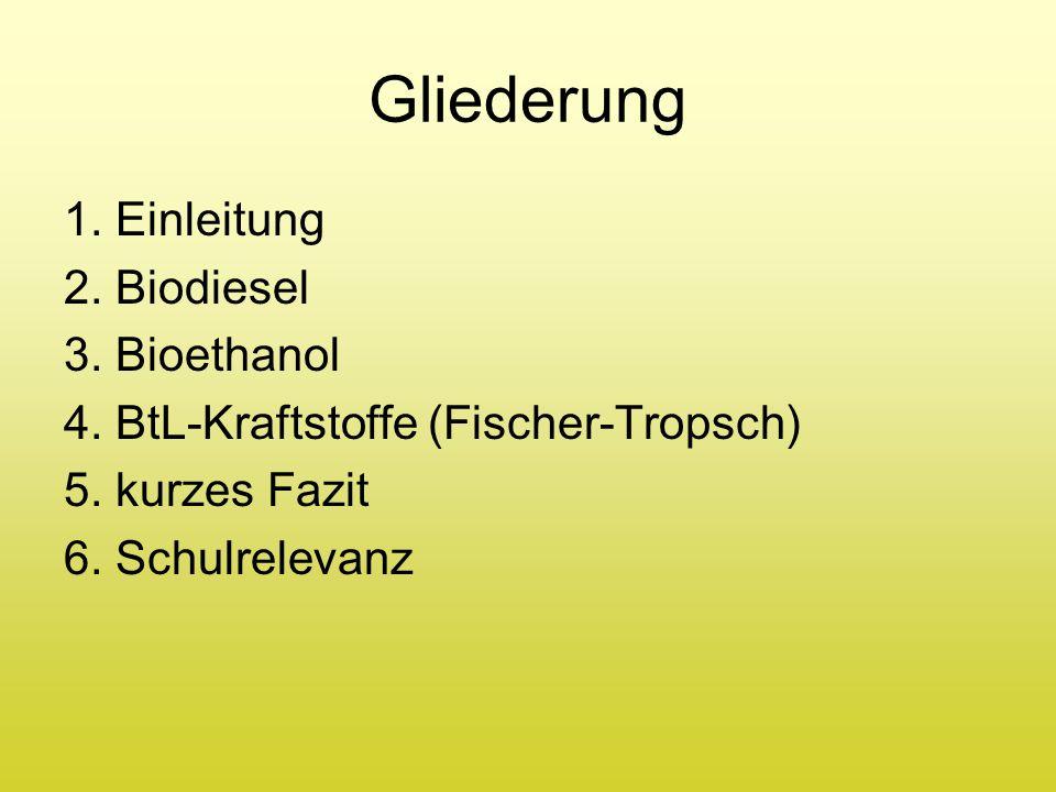Gliederung 1. Einleitung 2. Biodiesel 3. Bioethanol