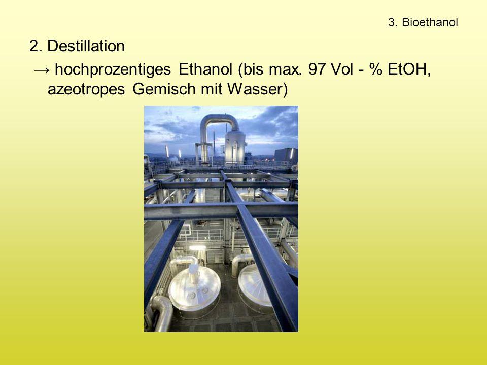 3. Bioethanol 2. Destillation. → hochprozentiges Ethanol (bis max.