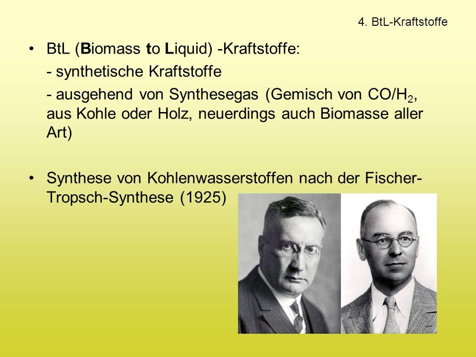 BtL (Biomass to Liquid) -Kraftstoffe: - synthetische Kraftstoffe