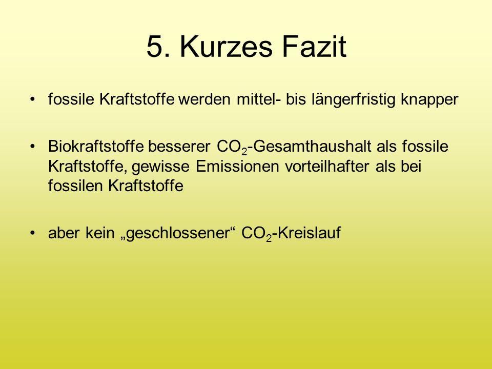 5. Kurzes Fazit fossile Kraftstoffe werden mittel- bis längerfristig knapper.