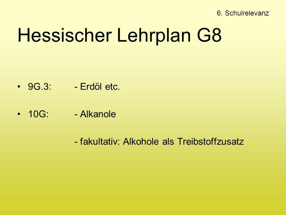 Hessischer Lehrplan G8 9G.3: - Erdöl etc. 10G: - Alkanole