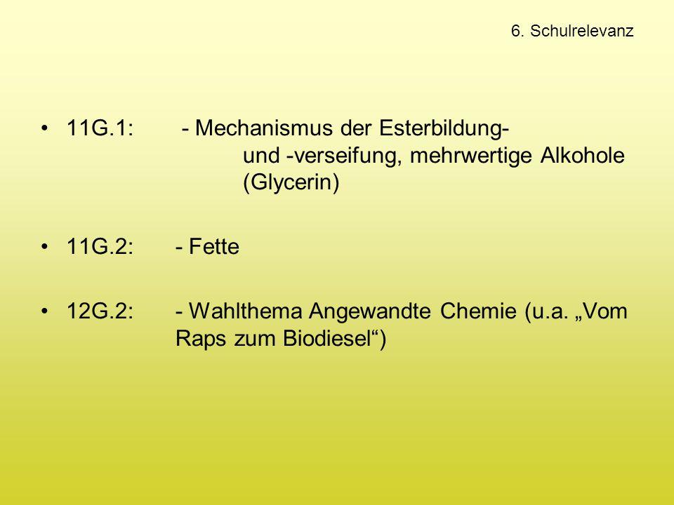 """12G.2: - Wahlthema Angewandte Chemie (u.a. """"Vom Raps zum Biodiesel )"""