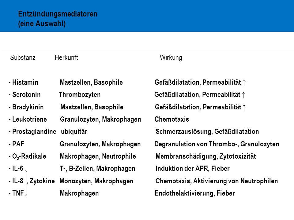 Entzündungsmediatoren (eine Auswahl)
