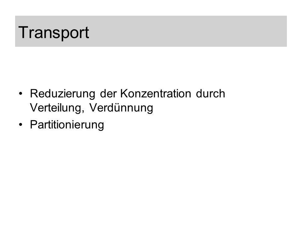 Transport Reduzierung der Konzentration durch Verteilung, Verdünnung