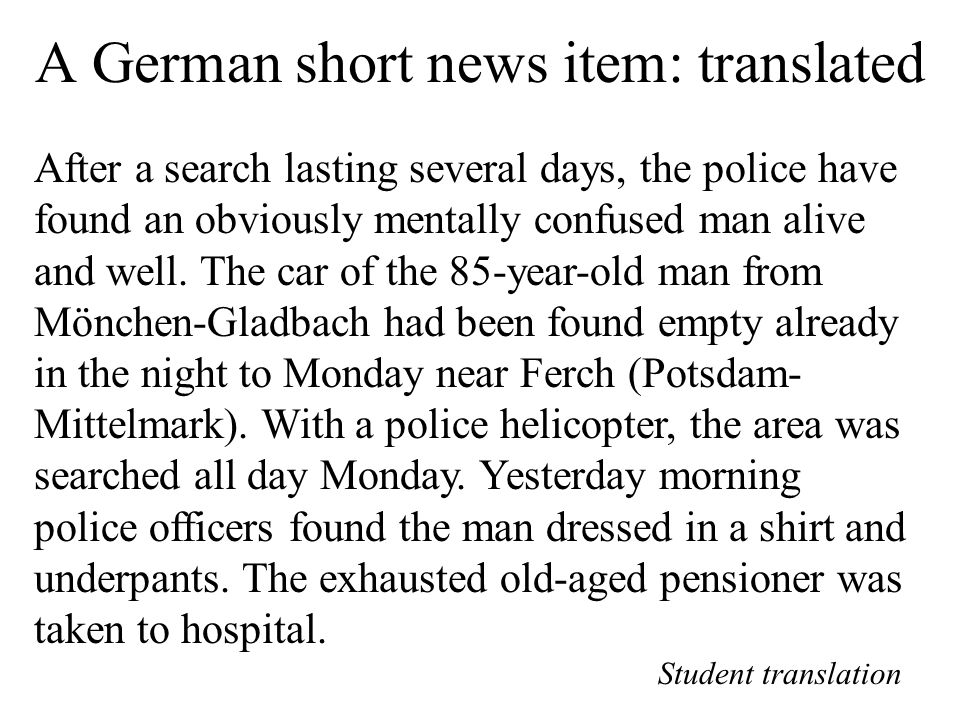 A German short news item: translated