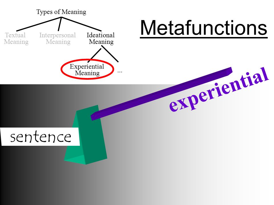 Metafunctions experiential sentence Types of Meaning Textual Meaning