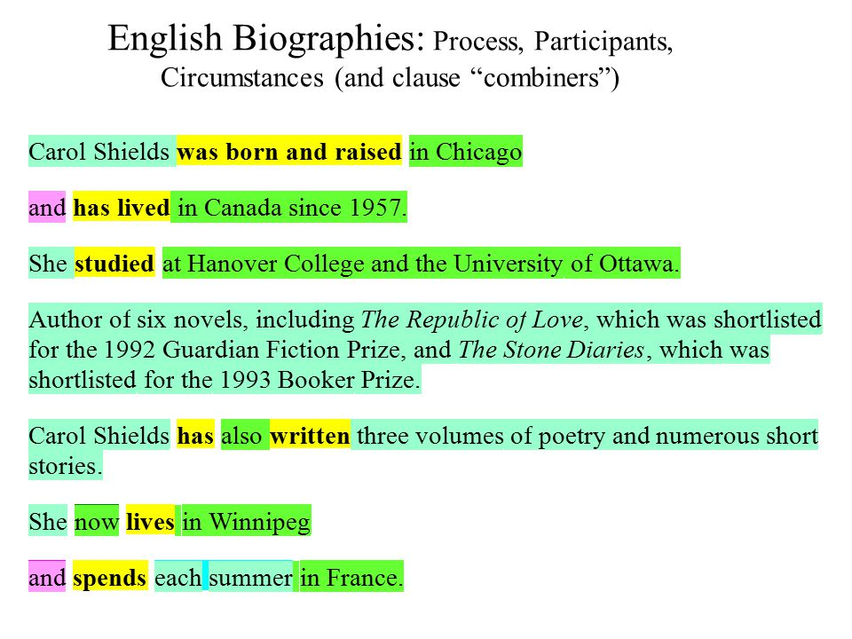 English Biographies: Process, Participants, Circumstances (and clause combiners )