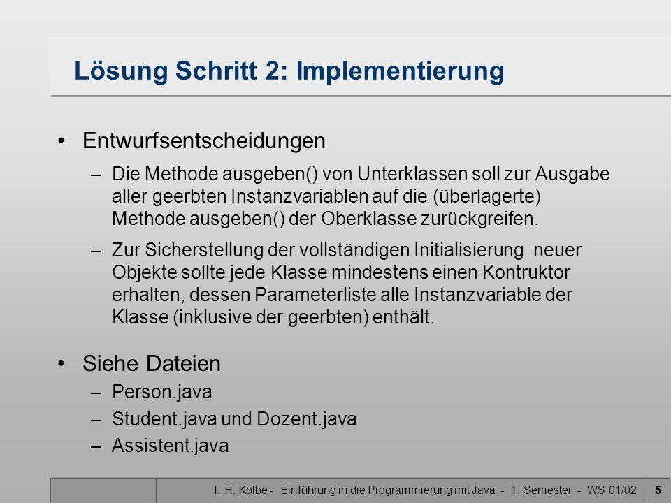 Lösung Schritt 2: Implementierung