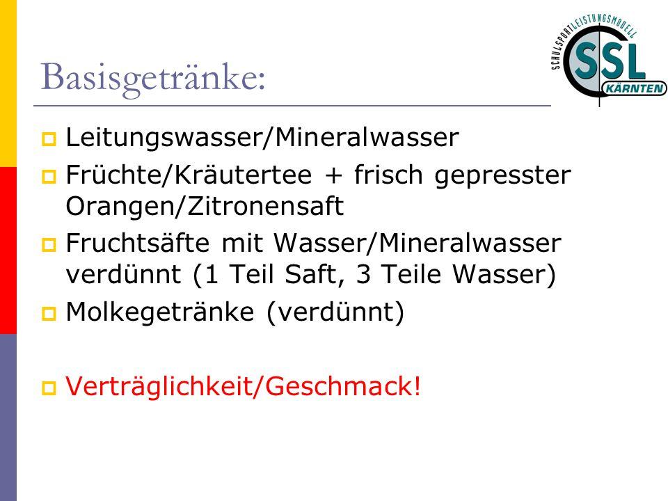 Basisgetränke: Leitungswasser/Mineralwasser