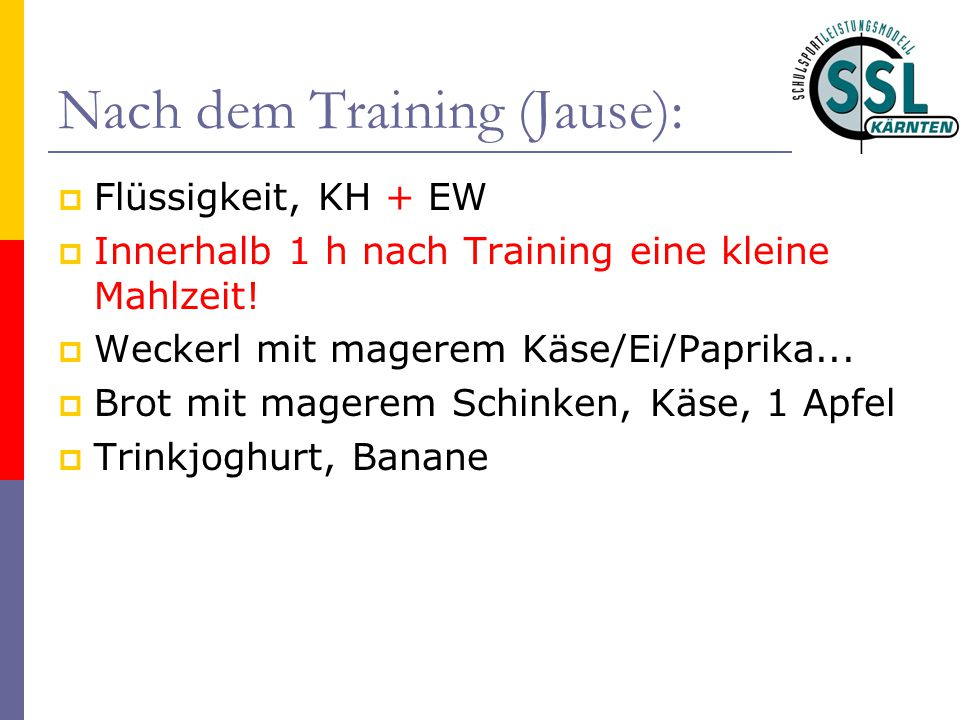 Nach dem Training (Jause):