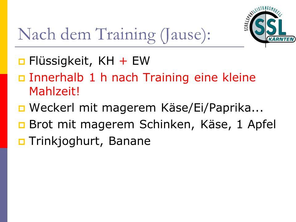 Nach dem Training (Jause):