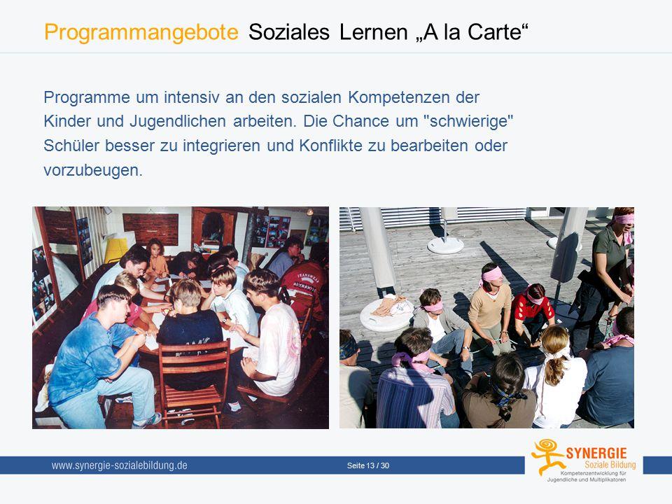 """Programmangebote Soziales Lernen """"A la Carte"""
