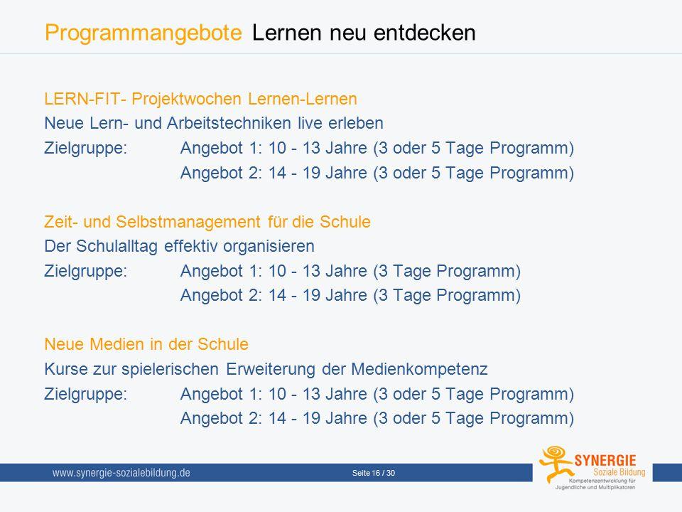 Programmangebote Lernen neu entdecken